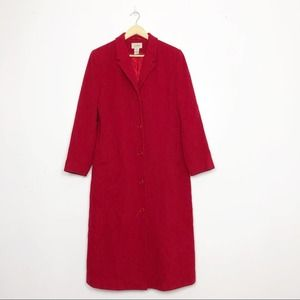 L.L. BEAN Red Wool Cashmere Button Up Trench Coat